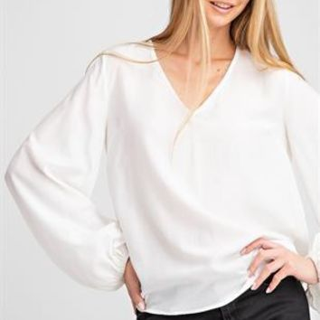 Balloon Long Sleeve Top - White