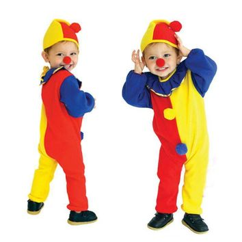 Children Cute Circus Clown Cosplay Costume Kids Naughty Harlequin Jumpsuit Boys Girls Fancy Clothing