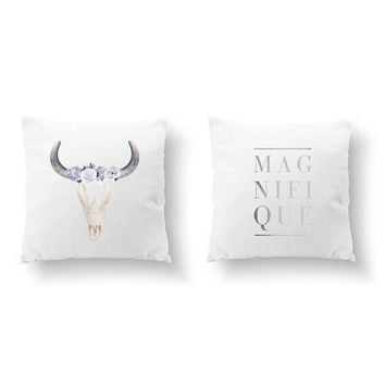 SET of 2 Pillows, Magnifique Pillow, Bull Skull Blue Pillow, Gold Pillow, French Words, Boho Decor, Bed Pillow, Throw Pillow, Cushion Cover