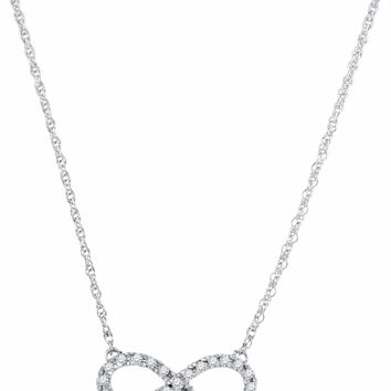 10kt White Gold Women's Round Diamond Infinity Pendant Necklace 1-5 Cttw - FREE Shipping (US/CAN)