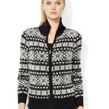 Lauren Ralph Lauren Fair Isle Full-Zip Cardigan
