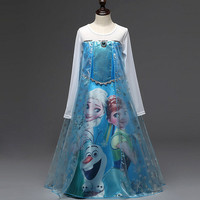 2016 Elsa Anna Long Sleeve Dress For Baby Girl Fashion Elsa Party Clothes Girls dresses Princess Halloween Costumes For Kids #FB