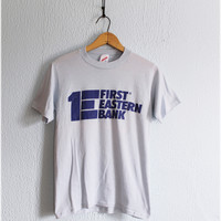 Vintage 80's • JERZEES • 1st Eastern Bank Retro Tee
