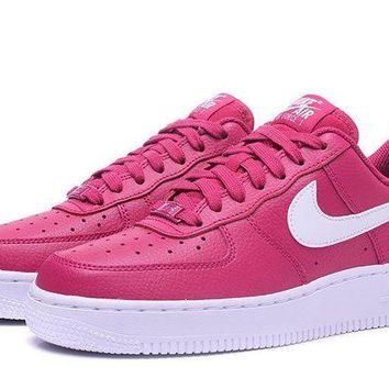 DCCKBE6 Nike Air Force 1 Rose Red For Women Men Running Sport Casual Shoes Sneakers