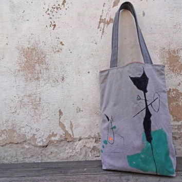 Cat Tote Bag, Urban Glam Gray Pale Pink Hand Painted OOAK, Casual Canvas Tote bag
