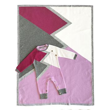 Infant Girl's Color Block Cashmere Romper and Blanket SET in Pink