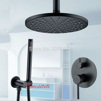 "Smesiteli Luxury Matte Black 8"" Shower Head Ceiling Handheld Spray Set"