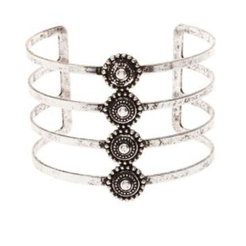 Silver Caged Medallion Cuff Bracelet by Charlotte Russe