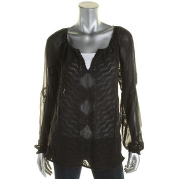Lucky Brand Womens Sheer Embroidered Peasant Top