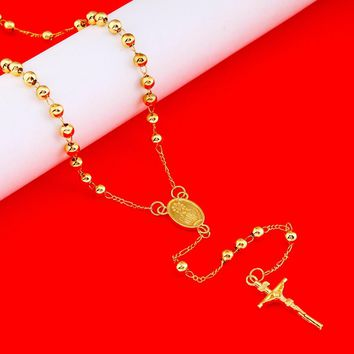 Gold Bead Chain & Cross Pendant