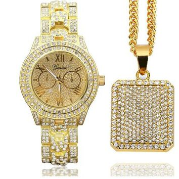 Hip Hop Iced Out Techno Paved Watch & Dog Tag Necklace