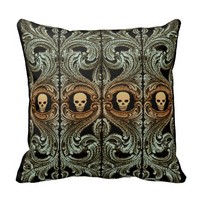 Goth Sage Green Ornament with Skull Pillow