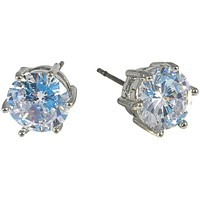 Cubic Zirconia Earrings Round Stud 8mm
