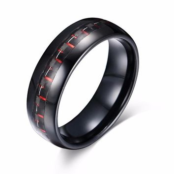 8mm Black Tungsten Carbide Red Carbon Fiber Ring Wedding Engagement Anniversary Band for Men