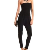 Ruched Skinny Strapless Jumpsuit by Charlotte Russe - Black