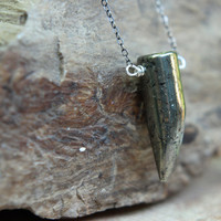 Dagger Pendant  Pyrite Talon Necklace  Metallic Gemstone  Gunmetal Silver Chain  Unisex  Tribal  Gift Box