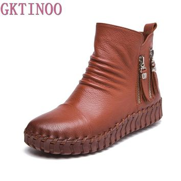 Genuine Leather Short Boots Plus Velet Winter Women's Shoes Handmade Sewing Soft Outsole Lazy Shoes Maternity Shoes Flat Boots