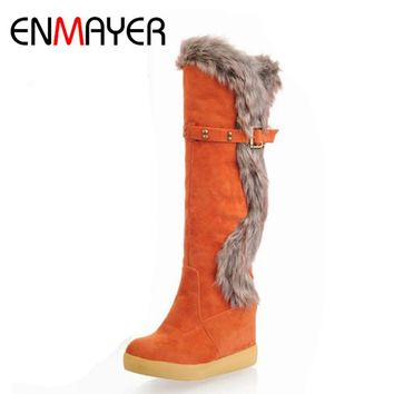ENMAYER High Wedges Heels Snow Boots for Women Warm Fur Winter Shoes Knee High Rabbit Fur Platform Knight Boots for Women
