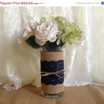 3 DAY SALE Navy blue burlap and lace covered glass vase, wedding, bridal shower, baby shower, home decoration