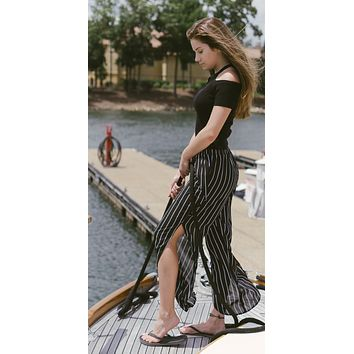 Sheer Black And White Striped Side Slit Pants