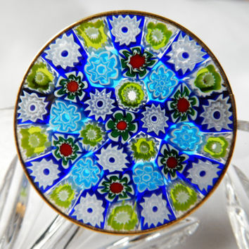 Fantastic Millefiori Glass Brooch Italian Million Flowers Glass Mosaic Brooch