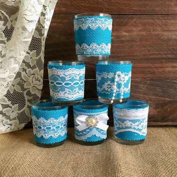 6 Turquoise burlap and white lace covered votive tea candles, wedding, bridal shower table decoration