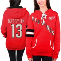 Pavel Datsyuk Detroit Red Wings Old Time Hockey Women's Heidi Hoodie - Red
