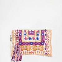 Street Level Embroidered Clutch Bag at asos.com
