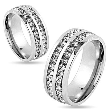 8mm Double Lined CZ Center Stainless Steel Wedding Band Ring