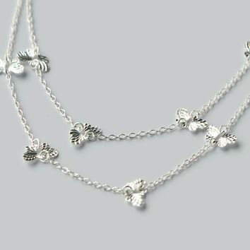 Cute butterfly 925 sterling silver necklace, a perfect gift !