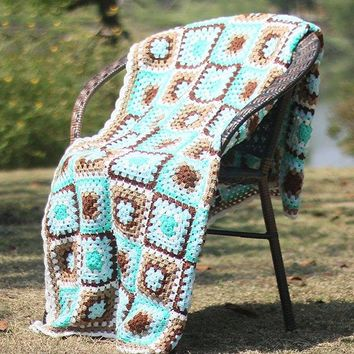 Home Decor Plaid Patchwork Crochet Knitting Throw Blanket