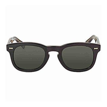 Gucci GG 0182S 002 Black Plastic Square Sunglasses Green Lens