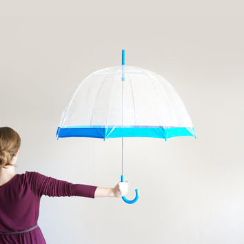 Vintage Clear Shaw Umbrella with Blue Stripe