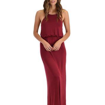 Lyss Loo Cherish The Day Burgundy Maxi Dress With Cinched Waist