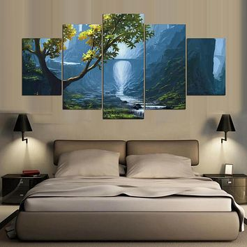 Modern Frames Painting Modular Picture 5 Panel Beautiful Landscape Cuadros Decor Canvas Art Wall Decor For Living Room PENGDA