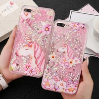EKONE Cute Unicorn Case For iPhone 6 6S 6Plus 8 X Case Liquid Dynamic Quicksand Coque For iPhone 7 Plus Case Pink Girl Cover