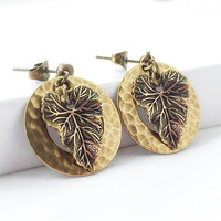 Leaf Earrings - Gold Leaf Jewelry - Hammered Gold Hoop Earrings - Drop Earrings - Post Earrings