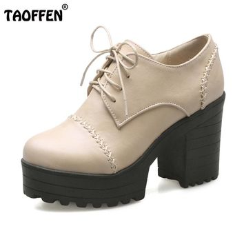TAOFFEN Vintage Lace up Platform Pumps Thick Heel Shoes Oxfords Shoes Women Spring Women Shoes Women Heeled Shoes Size 33-43