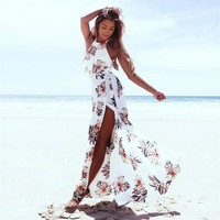 Anself Bohemian Floral Print Summer Maxi Dress