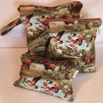Wet Bag - Snack Bag - PUL lined - Set of Three