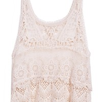 Sheinside Beige Scoop Neck Sleeveless Lace Vest (one-size, Beige)