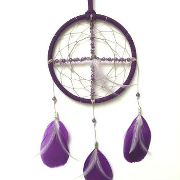 Dream Catcher - Medicine Wheel -  Purple, Amethyst, Beaded Dreamcatcher