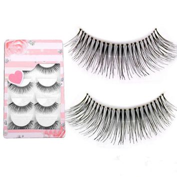 Hot Sale Natural Sparse Cross Eye Lashes 5pairs Extension Makeup Long False Eyelashes