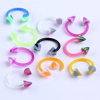 Ayliss 10pc/pack Mix Color Punk UV Taper Spike Rivet 16g Circular Barbell Nose Ring Piercing Body Piercings Jewelry Septum Rings