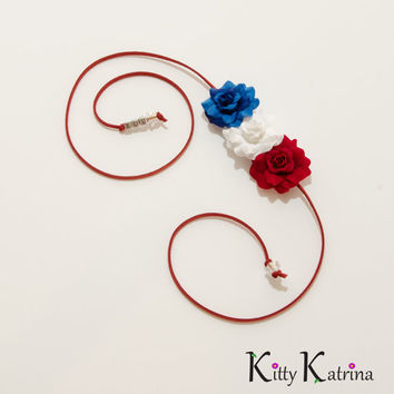 Patriotic Rose Side Flower Crown, USA Headband, 4th of July Outfit, Independence Day Headband, Memorial Day Headband, Festival Wear, PLUR