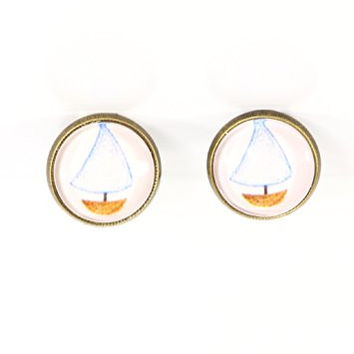Sailboat Clip On Stud Earrings Vintage Boat Art Yacht Gold Tone EG04 Posts Fashion Jewelry