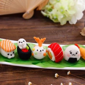 Japanese sushi cartoon animal set wool needlepoint kit  wool felt needle felting pendant craft needlecraft DIY handmade