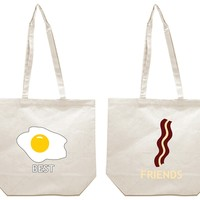 Eggs and Bacon Best Friends Girl BFFS Canvas Tote Bag