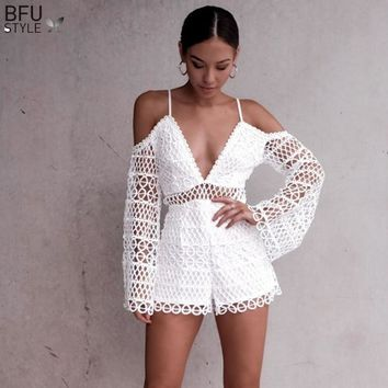 Hollow Out Lace Rompers Women Sexy V Neck Off Shoulder Jumpsuit Clubwear Beach Party Short Romper Playsuit 2018 Mesh Overalls