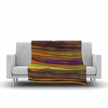 "Miranda Mol ""Tropical Sunset"" Gold Orange Abstract Stripes Watercolor Painting Fleece Throw Blanket"